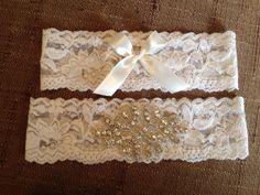 Light ivory flat lace garter set with rhinestone by SparrowBridal, $32.00