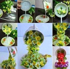 A teacup plate can be used to arrange flowers in such a creative way to decorated rooms. What you need: Pair of tea cups and plates Different types of flowers: tulips, roses etc. Wire hard enough to support a cup full of flowers Hot Glue Scissors Pliers Types Of Flowers, Diy Flowers, Teacup Flowers, Flowers Garden, Paper Flowers, Drawing Flowers, Bouquet Flowers, Painting Flowers, Flower Ideas