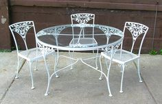 Dining Table: Fascinating Round White Wrought Iron Outdoor Table ...