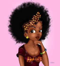 Black Love Art, Black Girl Art, My Black Is Beautiful, Black Girls Rock, African American Art, African Art, Black Girl Cartoon, Black Art Pictures, Natural Hair Art