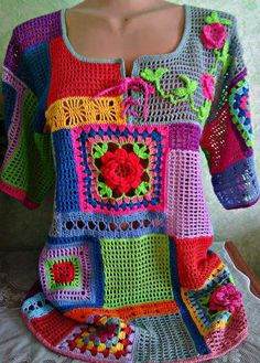 Ok ru pulli retro okru pulli retro how to crochet a granny square with 72 images for 2019 page 41 of 65 Crochet Bolero, Crochet Tunic, Freeform Crochet, Crochet Clothes, Crochet Stitches, Free Crochet, Crochet Granny, Crochet Tops, Crochet Designs