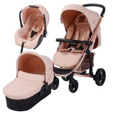 This beautiful and stylish Rose Gold and Blush travel system designed with Billie Faiers is a great system. With a Rose Gold frame, this pushchair is lightweight, has a large shopping basket, is easy fold and has a height adjustable handle, making it a delight to push. Included is a bassinet and Group 0+ Car Seat, both of which attach to the pushchair frame.
