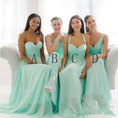 Mismatched Mint Chiffon Different Styles Junior Simple A Line Formal Floor-length Bridesmaid Dresses, The long bridesmaid dresses are fully lined, 4 bones in the bodice, chest pad in the bust, l Long Bridesmaid Dresses, Wedding Bridesmaids, Wedding Attire, Wedding Dresses, Green Bridesmaids, Long Dresses, Formal Dresses, Future Mrs, Wedding Wishes