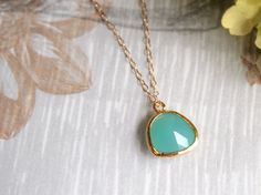 Framed Stone Pendant Necklace Goldplated Frosted by VintageDiary, $18.00