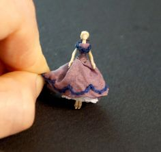 Miniature Victorian/ Civil War doll with purple by TheHouseOfTiny