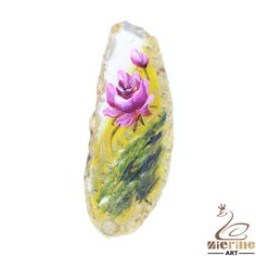 Pendant For Necklace Hand Painted Flower Natural Agate Multi Color ZL803816 #ZL #Pendant