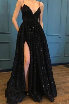 Sparkle sequin spaghetti strap black long prom dresses with slit evening dress chic evening dress. Source by cecileeeeeeee dresses long Black Evening Dresses, Elegant Dresses, Pretty Dresses, Beautiful Dresses, Casual Dresses, Awesome Dresses, Prom Dresses Black Long, Black Lace Dresses, Black Ball Gowns