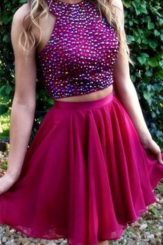 Two Pieces Beading Homecoming Dress,Sexy Party Dress,Charming Homecoming Dress,Graduation Dress,Homecoming Dress