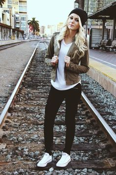 Love the dark jeans with white converse. Also white tee with olive green jacket and black beanie