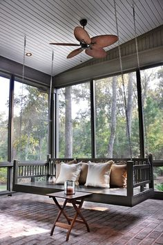 Getting in to the swing of things - Porch swing in Palmetto Bluff, SC. Hansen Architects.