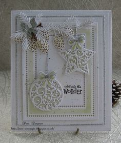 Hi friends and visitors.. Another Christmas bauble card.. Delicate green using distress ink. Bundled Sage, one of my most used colours. Decided to use both designs on my card, I have die cut two