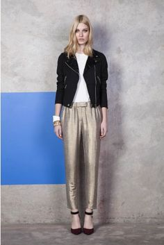 Slouchy gold pants.