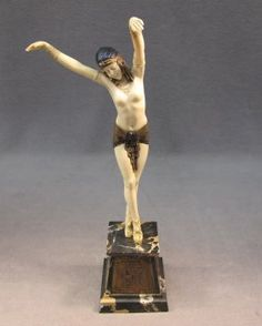 Dimitri CHIPARUS (1886-1947) Egyptian dancer bronze & ivory statue