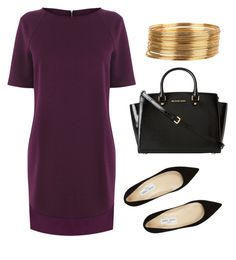"""""""Plum Dress Work Wear"""" by teennetwork ❤ liked on Polyvore featuring Warehouse, Jimmy Choo, MICHAEL Michael Kors, WorkWear, ootd, flats and mindykaling"""