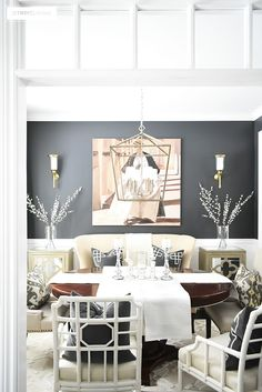 Same dark gray door paint used as a pop of color in another room for cohesive look.