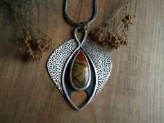 Picasso jasper pendant, sterling silver, teardrop jasper, gemstone pendant, textured pendant, ready to ship