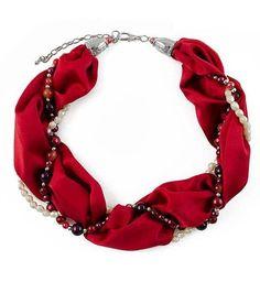 Šála s bižuterií Eleonora 299el001-20 - červená - Bijoux Me! - bižuterie, šály a šátky Jewelery