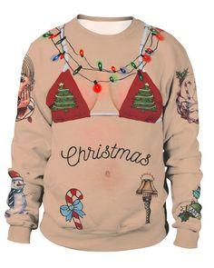 f0807cb802aba Christmas Elements Bikini On Skin Like Print Women Pullover Sweatshirt