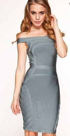 Herve Leger Short Sleeve Fitted Bandage Dark Gray Dress