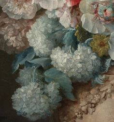 Bouquet of Flowers in a Terracotta Vase with Peaches and Grapes (detail) 1776. Anne Vallayer-Coster,