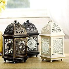 Decorative Rustic Lantern Antique French Metal Candle Holder Tealight Lamp