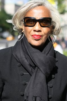 Scarf, hair, glasses, earrings. Genuine class. CREDIT: Advanced Style