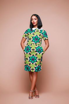 The African Print Useni Midi Dress | Grass-fields. Rule the office with a pretty african print.