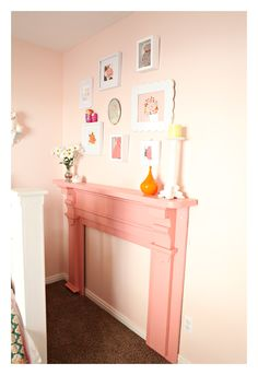 add a faux fireplace mantel in girls room. ooooooo I love this idea.