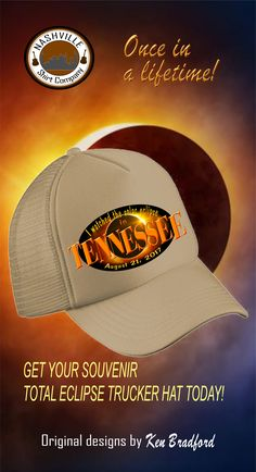 "35b00d80ffb Solar Eclipse in Tennessee Trucker Hat ""I Watched the Solar Eclipse in  Tennessee"" design"