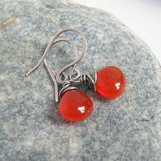 Carnelian Earrings, Gemsotne Orange Agate Oxidized Sterling Silver Rustic Jewelry
