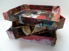 Ecofriendly storage box,es by Fifi's Dream, organizers, art collage, paper collage, gift idea, OOAK, decoration. $14,17 USD  See: www.etsy.com/nl/shop/FifisDream?section_id=13421657&ref=shopsection_leftnav_5