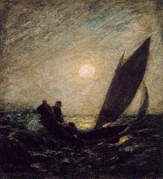 Albert Pinkham Ryder | With Sloping Mast And Dipping Prow, c.1883, oil on canvas mounted on fiberboard