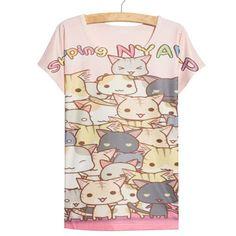 Thin Loose Cute Kawaii Spring Cats Anime Women's 3D T-Shirt