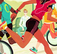 Illustration for an article in the Boston Globe a few months back—about all the fitness enthusiasts running & cycling around Boston. (though if I were in this scene, sad to say I would definitely be the guy drinking his coffee on a bench)