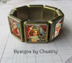 Christams Morning Bracelet Antique Bronzed VTG Altered Art Santa Claus   #Handmade #AlteredArt