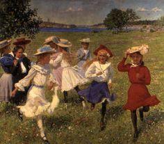 'Schoolgirls'. Erik Tryggelin (1878 – 1962), Swedish painter.