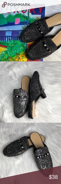 Marc Fisher Mule Marc Fisher Studded Mule Size 6 Man made upper Smoking Black  Silver abstract pattern Silver studs and flat heel finish NWOB Marc Fisher Shoes Mules & Clogs