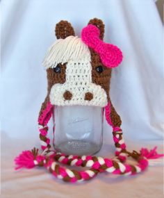 Girl's Crocheted  Brown and Pink Horse Hat -  2 to 8 yrs old- Pony Hat
