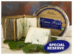 Rogue River Blue from Rogue Creamery is made only during autumn, when the cow's rich milk lends itself best to making this exquisite cheese. This multiple award-winning cheese is wrapped in grape leaves that have been soaked in pear brandy. The blue veining lends hints of hazelnuts and fruit, and the paste becomes slightly crystallized as it ages. Rogue River Blue won Best Blue Cheese in the World award in London, as well as Best of Show award twice at the American Cheese Society…