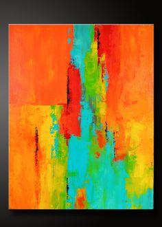 Tango  22 x 28  Abstracta de la pintura de acrílico sobre lienzo  Lados están pintados de negro, grapa gratis, lista para colgar.  Firmado y fechado en la parte posterior.  Esta pintura acrílica abstracta se ha realizado en vivos tonos de naranja, mandarina, rojo carmesí, amarillo sol, aqua, turquesa y negro. Acabado en barniz brillo para proteger el pedazo contra el polvo y la luz UV para años venideros. Hermosa pieza viva de arte para su hogar.