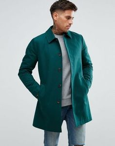 ASOS Shower Resistant Single Breasted Trench In Green