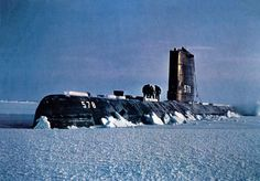 USS Skate (SSN-578) Three crew-members checking the ice on deck while above the Arctic Circle in 1959. a type of ray, was the lead ship of the Skate class of nuclear submarines. She was the third nuclear submarine commissioned, the first to make a completely submerged trans-Atlantic crossing, and the second submarine to reach the North Pole and the first to surface there. Was launched on 16 May 1957 and commissioned on 23 December 1957