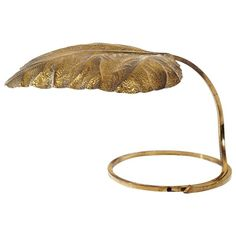 huge brass leaf table lamp by tommaso barbi - Modern Table Lamp