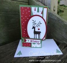 Stampin' Up!, Merry Mistletoe, Be Merry Designer Series Paper, Stitched Shapes Framelits, DIY crafts, handmade Christmas cards, #carolpaynestamps