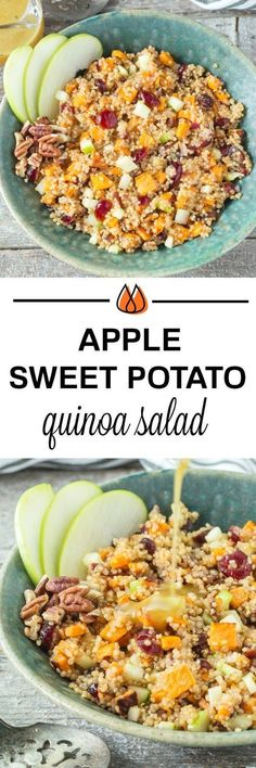 Your taste buds will love this tasty Apple Sweet Potato Quinoa Salad that is full of flavor and makes the perfect vegetarian side dish for dinner or holidays! That sounds good & looks pretty too! Healthy Recipes, Whole Food Recipes, Salad Recipes, Vegetarian Recipes, Cooking Recipes, Avocado Recipes, Cooking Tips, Cheap Recipes, Dinner Dishes