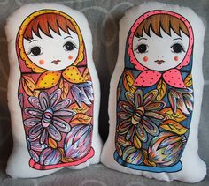 Plush Doll - Russian Babushka, Matryoshka Doll (Cushion) Pink scarf (blue back)