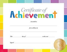 This simple yet colorful Painted Palette Certificate of Achievement award is a perfect reward for students in any grade from PreK to The rainbow of colors in paint chip style are accented by a gold Excellence seal to give this award a modern and fun look. Certificate Of Achievement Template, Free Printable Certificates, Certificate Design Template, Award Template, Award Certificates, Attendance Certificate, Kids Awards, Creative Teaching Press, Preschool Graduation