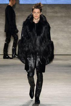 Brodie Scott closing for Concept Korea F/W New York. Marc Schulze, Matthew Clavane, David Gandy, Fall Winter 2015, Wearing Black, Male Models, Fur Coat, Korea, Menswear