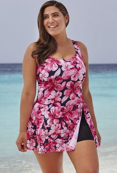 Plus Size - Swim 365 Honolulu Pink A-Line Swimdress Plus Size Bikini, Plus Size Swimsuits, Plus Size Summer Outfit, Summer Outfits, Summer Clothes, Modest Fashion, Fashion Outfits, Swim Dress, Stylish Outfits