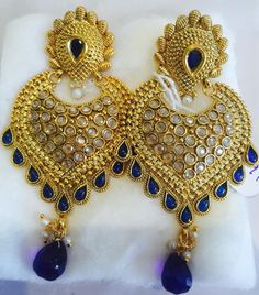 Engagement & Wedding Devoted Ethnic Goldtone Indian Traditional Cz Stone Dangle Earrings Bollywood Jewellery To Rank First Among Similar Products